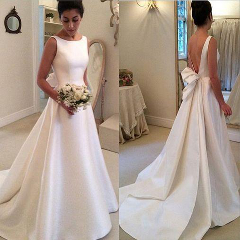 Faisata Satin Elegant Bow Wedding Dress Vintange Brdial Dress Deep V ...