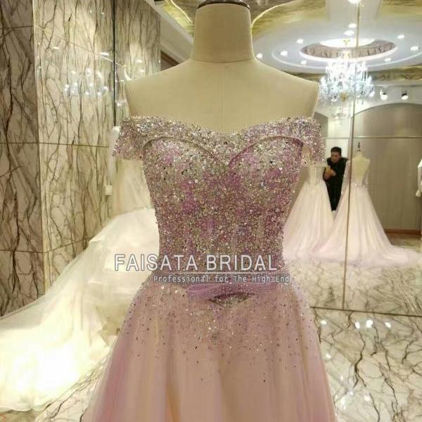 Luxury Crystal A Line Prom Dresses 2017 Boat Neck Beaded Long Sleeve Backless Vestidos De Festa Party Evening Gowns