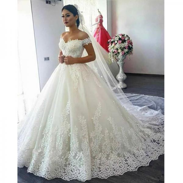 New Ball Gown Luxurious Lace Wedding Dresses Custom Made Princess Wedding Gown High Quality Luxurious Bridal Wedding Gown